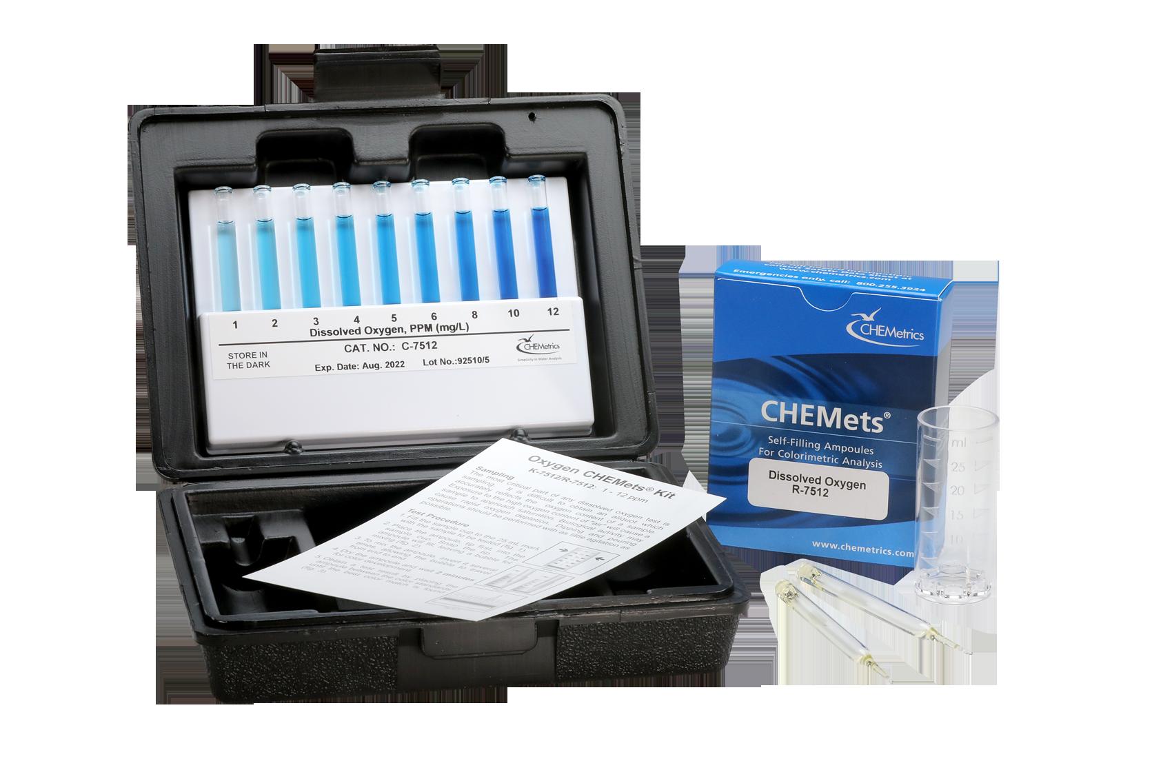CHEMetrics K-7512 Dissolved Oxygen Test kit and contents