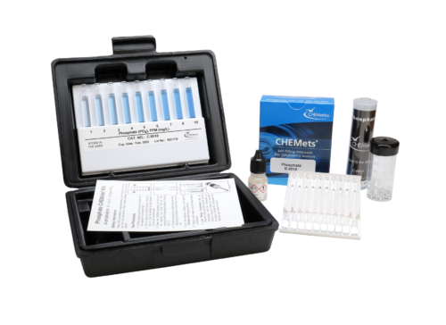 K-8510 Phosphate, ortho CHEMets® Visual Test Kit Contents and Packaging